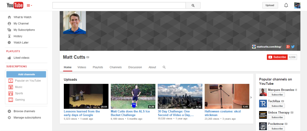 Matt Cutts Youtube Channel
